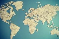 Декоративное панно Карта Мира представляет фактуру полученную в результате использования шпатлевки Капалит Фасад и краски Amphibolin Pacific 170
